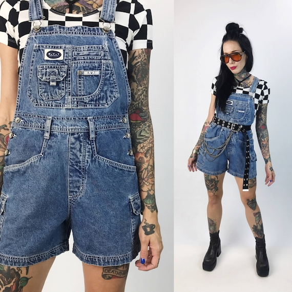 90's Denim Shorts Overalls Size 5/6 Small - Womens Blue Jean Cargo Pocket Overalls Basic Everyday Denim Grunge Romper/Carpenter Overalls