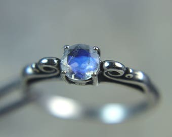 MOONSTONE - Genuine Faceted Rainbow Moonstone Sterling Silver Ring! Free Shipping!