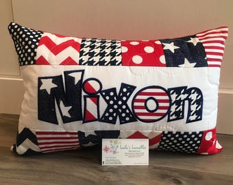 Stars and Stripes, red white and blue, personalized pillow case 12x18 inches