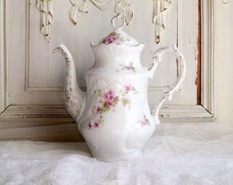 Antique French Limoges cottage chic pink flowers porcelain teapot, victorian teapot