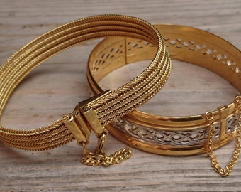 Two vintage gold plated bracelets