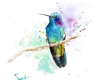 HUMMINGBIRD ART WATERCOLOR - bird print, hummingbird decor, bird decor, bathroom art, kitchen art, bird wall art, bird artwork