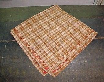 Antique Homespun Linen Handkerchief, Brown Check, Decorative Edging, c. 1850