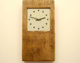 reclaimed wood wall clock crackle face