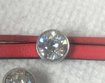 SALE: Stainless Steel and Blue Shade Swarovski Crystal Slider for 6mm Flat Leather Bracelets