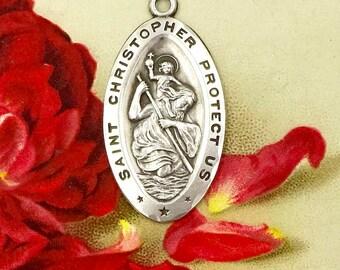 Vintage ST. CHRISTOPHER MEDAL Diroma Sterling Silver Saint Christopher Religious Medallion Medal Pendant Charm