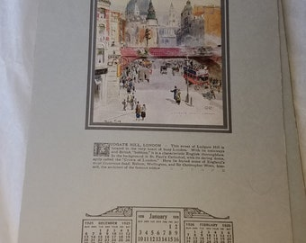 Other Streets Than Ours 1926 Art Calendar with 12 City Street Scenes. Art by Henry John Yeend King, Renowned British Artist.
