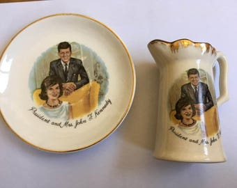 Vintage President and Mrs John F. Kennedy Creamer pitcher and saucer Made in USA