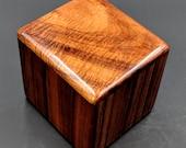 "Curly Hawaiian Koa  Pet or Infant Small Cremation Urn  4 3/4"" x 4 1/4"" x 4""  Custom Handmade Urns Ashes Memorial Keepsake Urn SK031218-A"