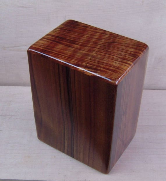 "Large Curly Hawaiian Koa Wooden Memorial Cremation Urn... 7""wide x 5""deep x 9""high Wood Adult Cremation Urn LK071217A"