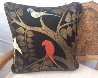 Old Silk 1920's Deco Vintage Textile Pillow W/Gold Threads