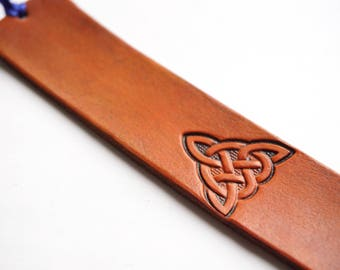 Leather Bookmark | Celtic Triangle Knot