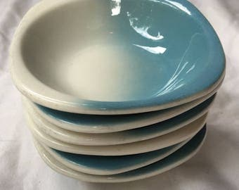 Turquoise Blue Airbrushed Restaurant Berry Bowls by Syracuse China Trend Shape