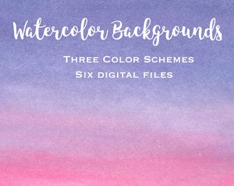 Watercolor Ombre Digital Paper Backgrounds, Watercolor Clipart