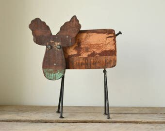 Reclaimed Hardwood Rustic Handmade Moose Statue