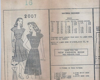 1950s Mail Order 2007 Misses' Dress Sewing Pattern UNCUT