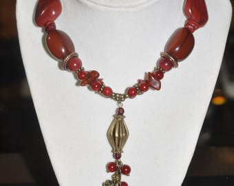 Upcycled Necklace Earrings Set Brass Beaded Red Chunky Cluster Stone Glass Gold Repurposed #250717