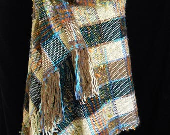 Hand Woven Shawl / Throw. Greens, Beige, blues, Browns