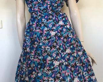 Lovely NOS 50s 60s Blue Floral Day Dress / Extra Large / Volup / Deadstock