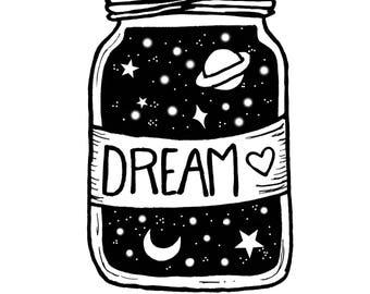 Jar Of Dreams - 5 x 7 in print - handmade