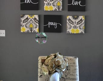 Perfect Eat Drink Be Merry Wall Decor Yellow Black Wall Art Set Canvas Wall Hanging Dining  Room
