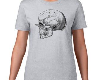 Women's Anatomical Skull Tshirt, Anatomy T Shirt, Horror Tee, Vintage Medical Illustration, Ringspun Cotton