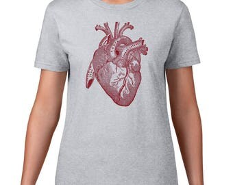 Women's Anatomical Heart Tshirt, Anatomy T Shirt, Horror Tee, Vintage Medical Illustration, Ringspun Cotton