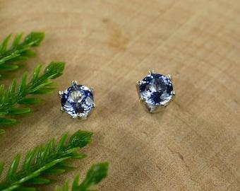 Ceylon Blue Sapphire Sterling Silver Earrings