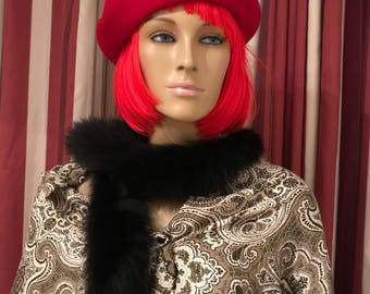 BAKARRA Vintage Top Quality Red Wool Women's Beret  Made in France. Fabrique en France, Pure Laine Impermeable.