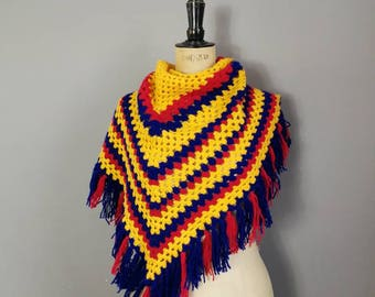 70s crocheted shawl wrap / red yellow blue wool poncho wrap /  retro shawl scarf / fringed crochet shawl / 70s triangle wool shawl / vintage