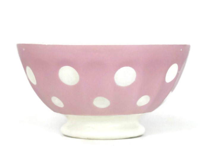 Vintage French Café au Lait Bowl. Pink Polka Dot Ceramic Cereal Dish. Pastel Kitchen Decor. Sarreguemines Pottery Bowl. Coffee Lover Gift.