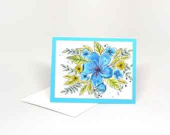 Handmade Note cards, Handmade Watercolored Greeting Cards, All Occasions, Mixed Blue and Yellow Flowers, Hand Painted, Limited Edition