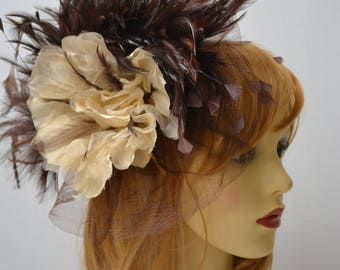 Brown and ivory fascinator