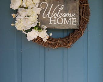 """Hand Painted Slate Welcome Sign 10""""x12"""" - Welcome Home"""