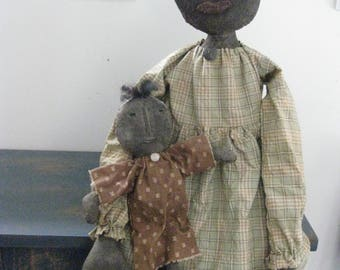 Primitive Black Doll with Dolly