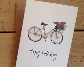 Flower Bicycle Birthday Card
