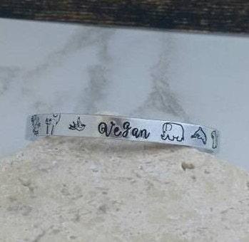 Girly vegan bracelet bangle - adjustable - handstamped - animals
