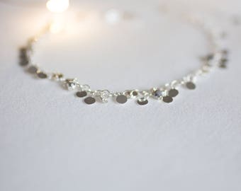 Silver sequins pendants anklet jewelry