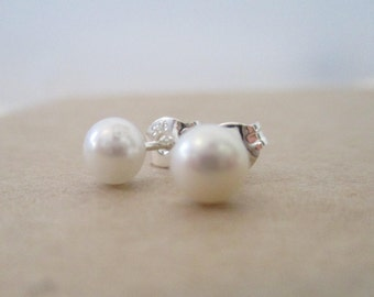 Teeny Tiny Sterling Silver and Fresh Water Pearl earrings...dainty, simple and fun