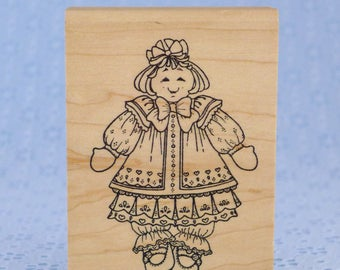Large Baby Doll Stamp, Minnie Ann, Wood Mounted Rubber Stamp, Holly Berry House, Paper Crafts, Card Making