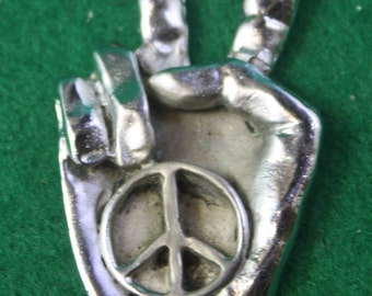 Vintage Peace symbol pendant Charm or key fob.- Free Shipping Domestic USA.