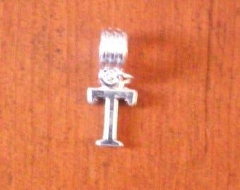 Silver fancy pendant letter T 16 x 10 mm