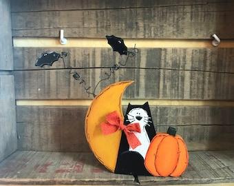 Black Cat with Moon, Bats and  Pumpkin Shelf Sitter