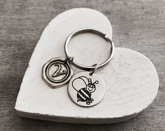 Banjo the bee, Honey Bee, bumble bee, Insect, Silver Bee, Bee Jewelry, Teenager, Silver Keychain, Silver Keyring, Silver Jewelry, Gift for
