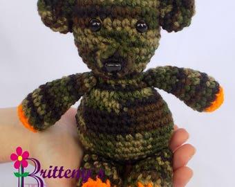Camo Teddy Bear / Camo Teddy Bear Stuffed Animal / Crochet Teddy Bear Stuffed Animal / Crochet Plush Teddy Bear Toy / Teddy Bear Snuggly Pal