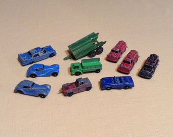 Set of 10 Vintage Metal Cars, Vehicles - 1960s, 1970s Diecast Tootsie Toy Lot - Mercedes, Plymouth, Shuttle Truck, Trailer, Fire Truck