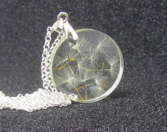 dandelion wish necklace, clear resin pendant, dandelion necklace, make a wish necklace, resin pendant, resin wish, transparent resin pendant