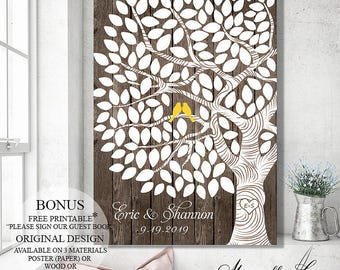 Wedding Guest Book Alternative Rustic Guestbook, Wedding Tree Wood Guest Book Tree, Wedding Gift Personalized Guestbook, Wedding Signs Wood