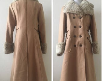 vintage 60's WOOL & FAUX FUR tan princess coat - small