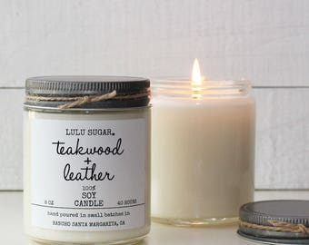 Teakwood + Leather Scented Soy Candle - Scented Candles | Teakwood Candle | Leather Candle | Masculine Candle | Gift for him | Man Candle